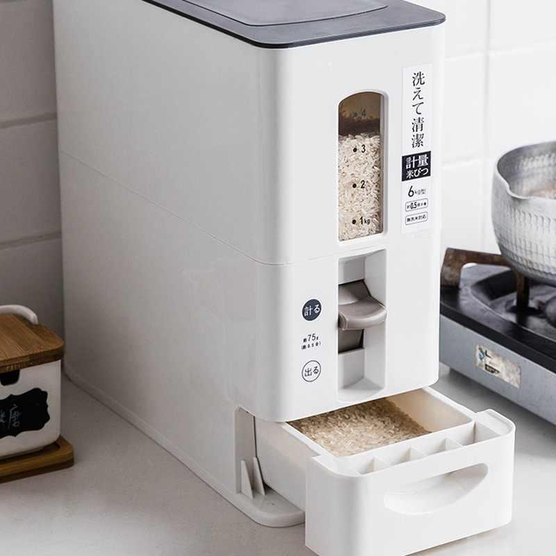 Mensurável Selada Caixa de Armazenamento De Arroz Frascos de Embalagens Plásticas De Alimentos Farinha de Grãos de Grãos de Cereais Moisture-Proof Balde Itens de Cozinha