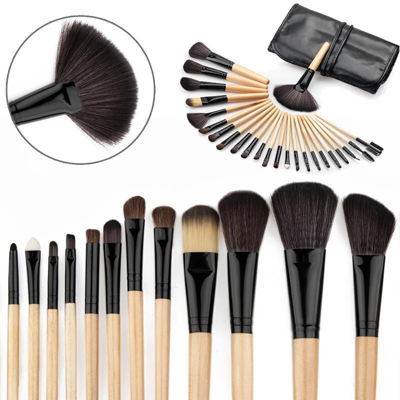 24Pcs Superior Soft Cosmetic Makeup Brush Set Face Foundation Powder Brushes Kit With Pouch Bag Case DIY Makeup Tools 100cm creative slim diy mesh bag for cosmetic makeup brush 12290