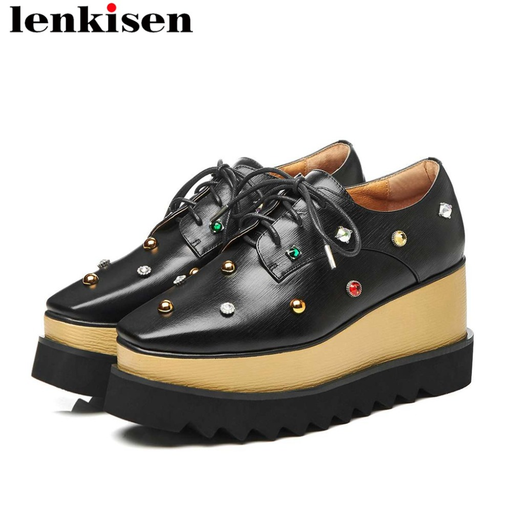 2019 fashion European style streetwear wedges high bottom platform classic square toe rivets crystals lace up
