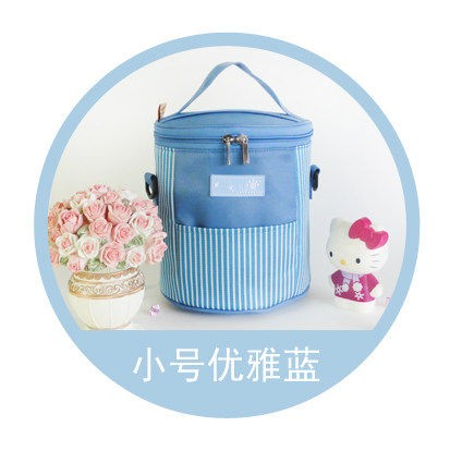 Круглая двойная молния изоляция обеда сумки Сумка Ланч сумка кулер сумка - Цвет: Небесно-голубой