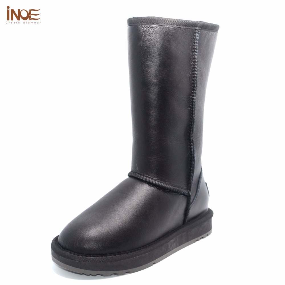 INOE Classic real sheepskin leather sheep fur lined high winter snow boots for women winter shoes