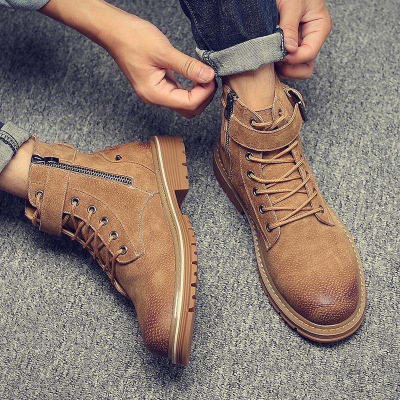 Alto Com Masculinos Curtas Britânico Sapatos Dourado Coreano Deserto Couro cinza Do Botas De Martin Estilo Preto Retro top Primavera Macacão ouro Axqw17dx
