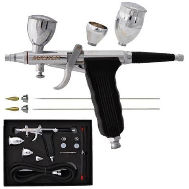 Pistola a spruzzo A Doppia Azione Pistola Trigger Airbrush Set Con Punte 3 Tazze di 0.2/0.3/0.5 millimetri Modello di Aria pennello Per Nail Strumento di Arte Del Tatuaggio