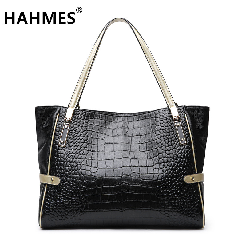 HAHMES 100% Genuine Leather Women's Bag Serpentine design Casual Tote handbag quality cow leather shoulder bag 31cm 10913 hahmes 100