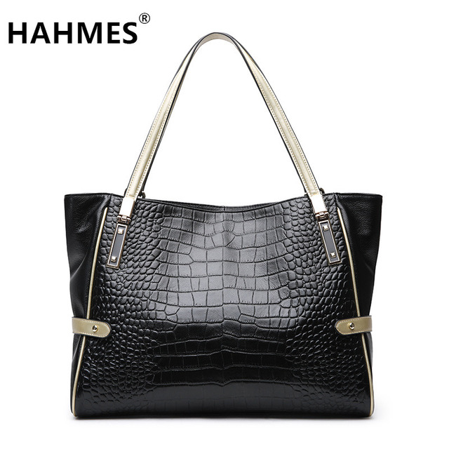 HAHMES 100% Genuine Leather Women's Bag Serpentine design Casual Tote handbag quality cow leather shoulder bag 31cm 10913
