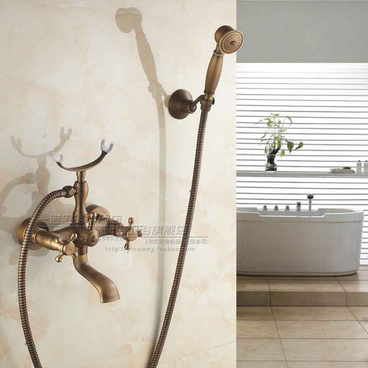 Bathroom Shower Faucet Set Wall Mounted Antique Copper Phone Style Ceramic Handheld Shower Single Handle flg antique copper carving wall mounted shower set with ceramic fashion quality copper shower bathroom sanitary ware shower set