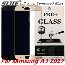 full cover Tempered Glass For samsung A3 2017 Screen protective cover White black Gold A3200 A320 4.7 inch smartphone toughened защитное стекло interstep full screen cover 0 3мм sams a3 2017 a320 gold