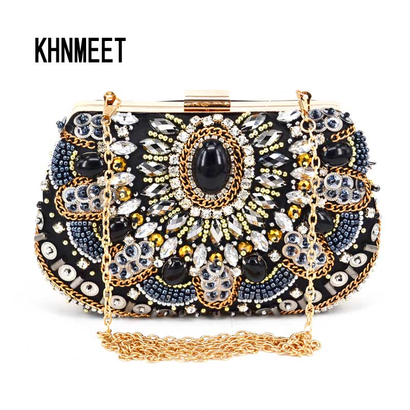 Fashion Crystal Women Evening Bag With Stone Beaded Clutch Bag For Elegant Ladies Banquet Handbag Black Classic Party Purse X52 luxury crystal clutch handbag women evening bag wedding party purses banquet
