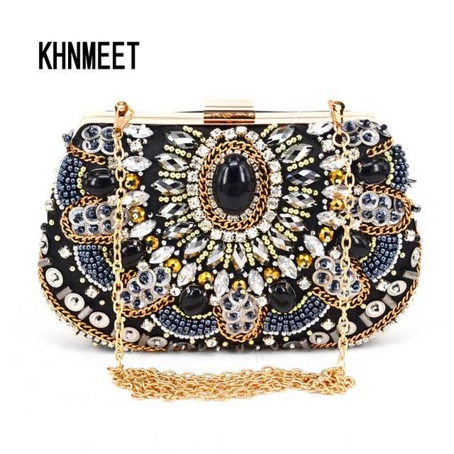 Fashion Crystal Women Evening Bag With Stone Beaded Clutch For Elegant Las Banquet Handbag Black