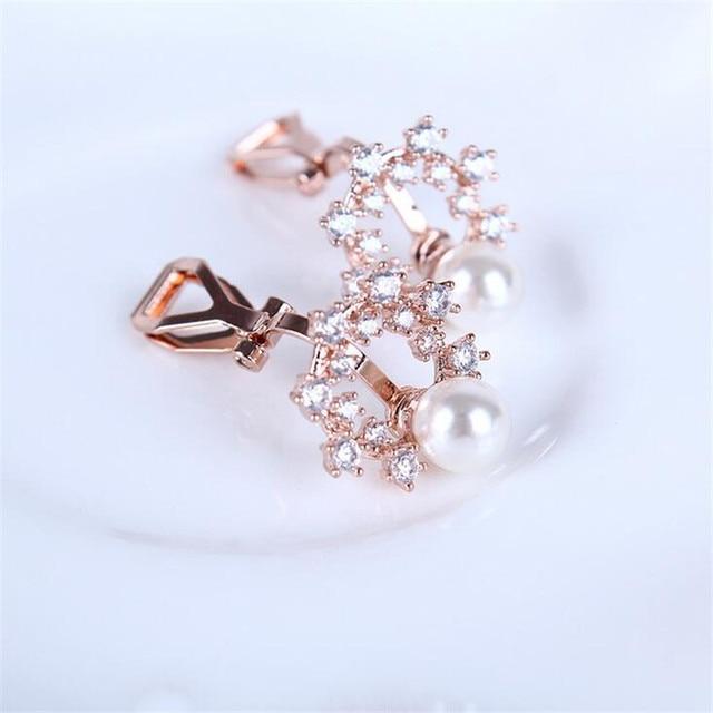 Rose Gold Fashion Clip Earrings Freshwater Pearl On Women Cuff Earring Pennte