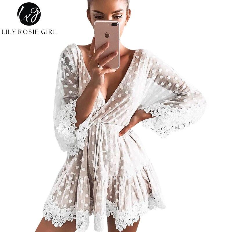 Lily Rosie Girl blanco punto del cordón Mini Vestidos Mujer 2018 verano Sexy V cuello partido vestido de malla de playa Backless Flare manga Vestidos