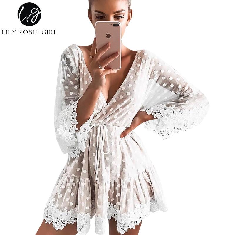 Lily Rosie Mädchen Weiß Spitze Dot Frauen Mini Kleider Sommer Sexy V-ausschnitt Party Strand Mesh Kleid Backless Flare Hülse vestidos