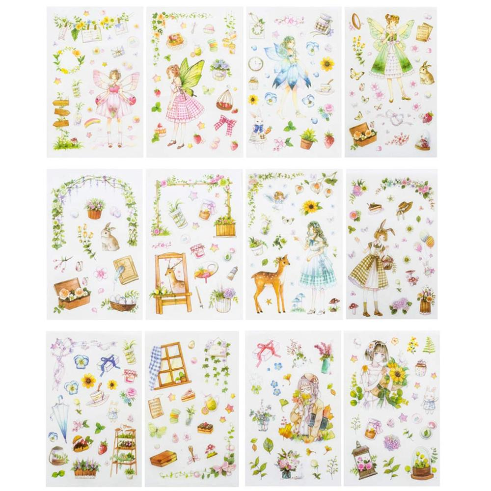 6 Pcs/pack Pastorale Theme Decorative Stickers Scrapbooking Stick Label Diary Stationery Album Stickers For Calendars, Arts
