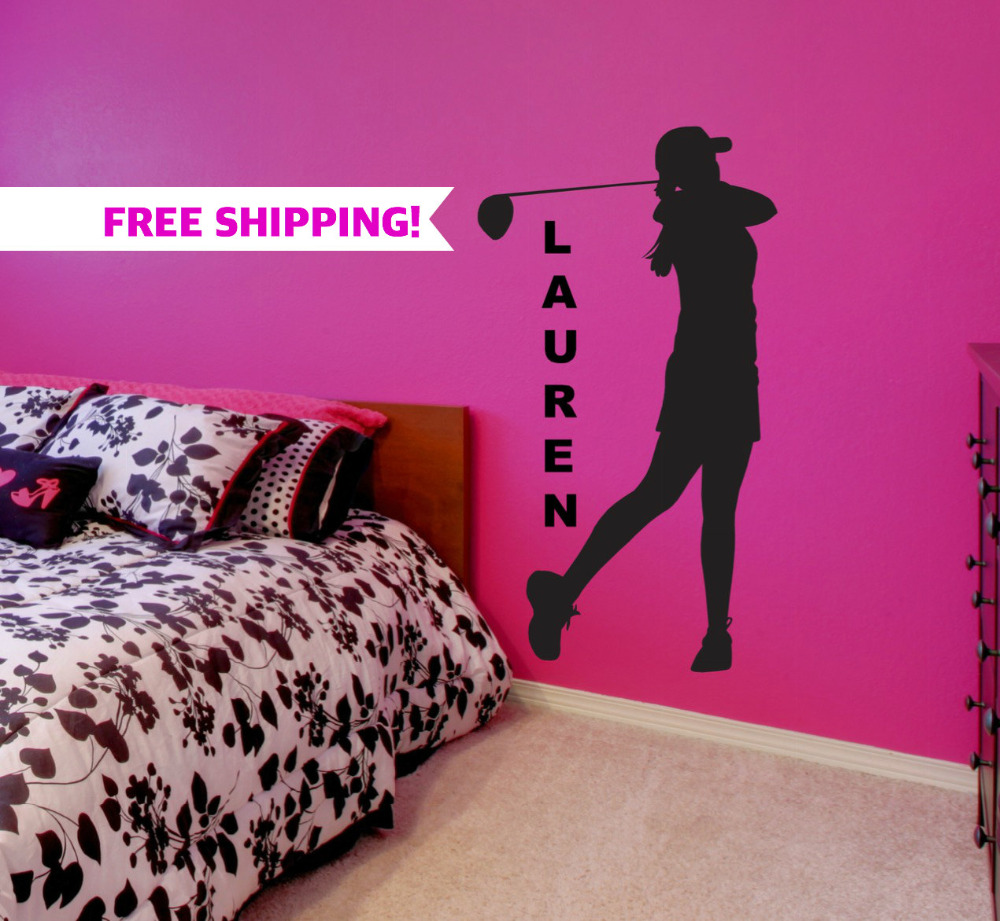 Womens Golf Gifts Wall Decor - Sports Golf Wall Decals- Personalized Name Wall Stickers For Girls Bedroom A294