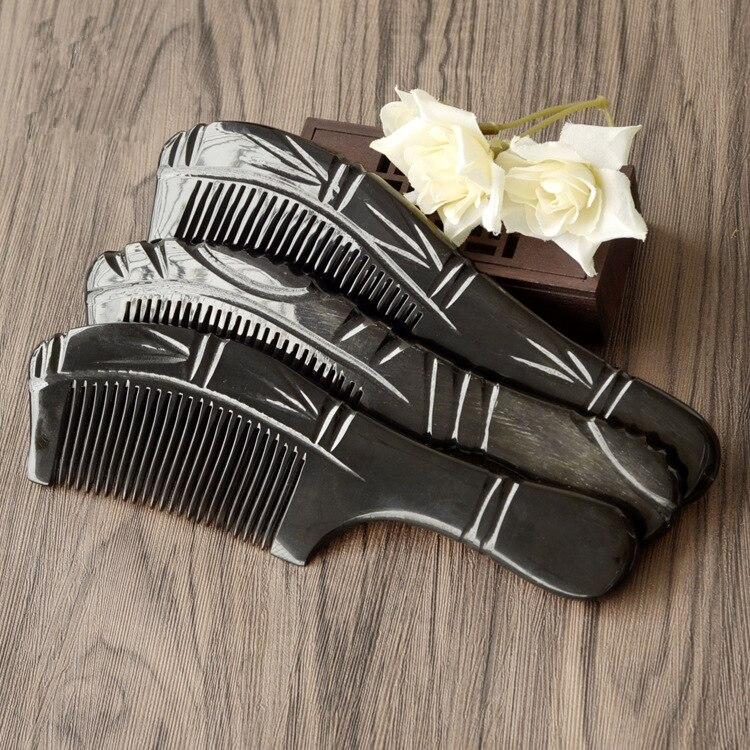 Купить с кэшбэком 1PC Exquisitely Carved Buffalo Horn Comb Bamboo Long Handle Massage Shun Hair Comb Large Hair Comb G0411