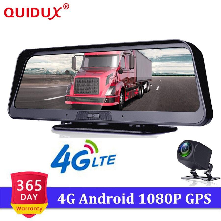 QUIDUX 10 pouces 4G voiture DVR caméra GPS FHD 1080 P Android Dash Cam Navigation ADAS voiture enregistreur vidéo double objectif avec caméra inversée