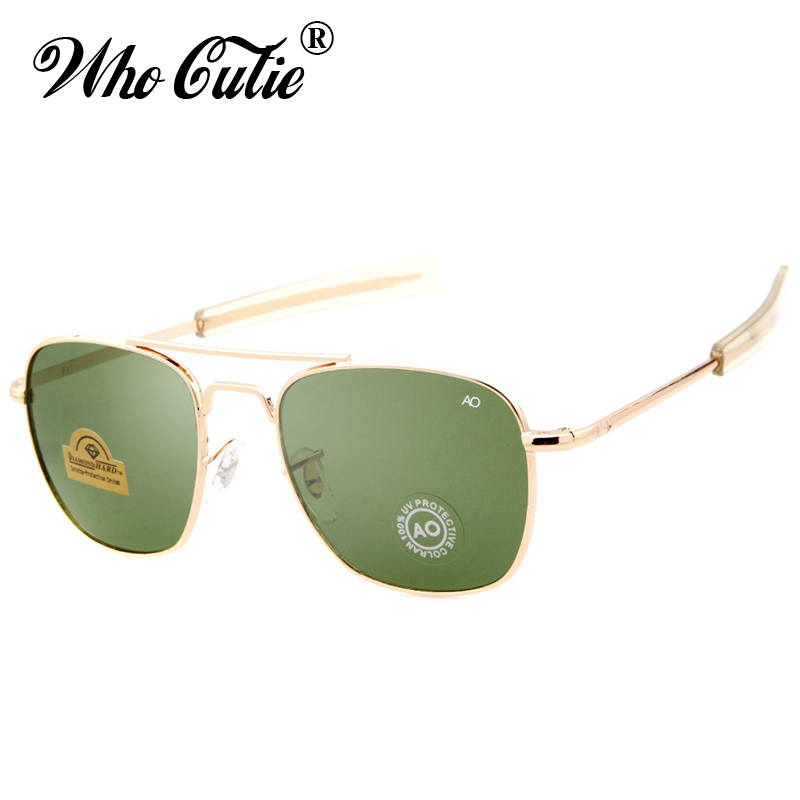 WHO CUTIE Brand New Army MILITARY AO Sunglasses Men American Optical Aviator Lens 12K Gold James Bond Pilot Sun Glasses oculos okulary wojskowe