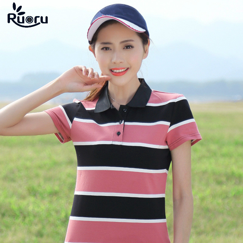 Ruoru New Large Size Cotton Women Polo Shirt Summer Striped Short Sleeve Femme Colorful Female