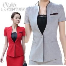 2017 New Summer Slim Suit Women Ladies Office Coat Short Blazer Tops Feminino Short Sleeve V