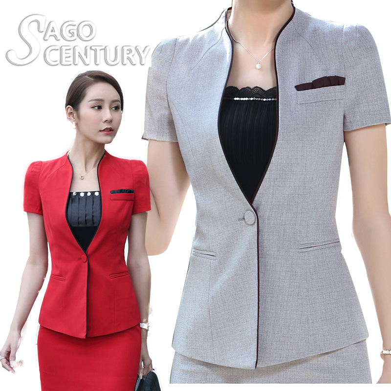 2017 New Summer Slim Suit Women Ladies Office Coat Short Blazer Tops Feminino Short Sleeve V Neck Mujer Casual Red Suit Jacket