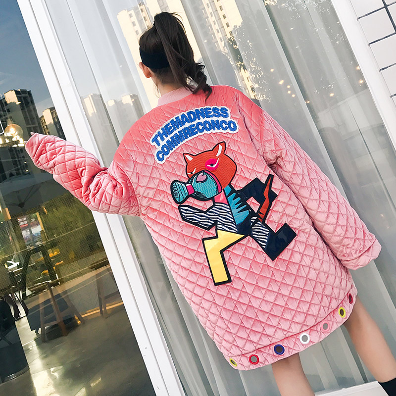 TREND-Setter 2017 Winter Cartoon Pink Coat Women Funny Embroidery Letter Pattern Long Loose Velvet Thick Coat Streetwear irish setter is2847 raptor дешево