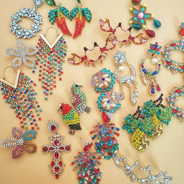 Moda snoops pendientes de gota coloridos diseño de gran marca de lujo colgante de estrella cristal gema pendientes llamativos bisutería regalos