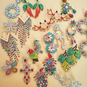 Pendientes de gota de moda snoops, colgante de estrella de lujo con diseño de marca grande colorido, pendientes llamativos bisutería de cristal, regalos
