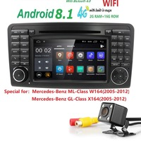 7 Inch 2 Din IPS Android 8.1 Car Navigation DVD radio for Mercedes Benz ML GL W164 ML300 ML350 USB DVR TPMS OBD2 Reverse Camera