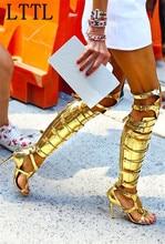 Lttl серебро золото пряжки крест женщины прохладный рыцарь сапоги, сандалии Над Коленом Высокие Каблуки Peep Toe Дамы Долго Гладиаторские сапоги