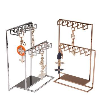 Jewelry Rack Earrings Display Necklace Hanging Hook Stand Gold Silvery Stainless Steel Display Rack Metal Earring Storage Stand
