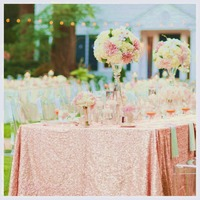 Fuloon Blush Sequin Table Tablecloth Glitter Sequin Table Cloth Table Linens for Wedding Party Birthday Baby Showers a