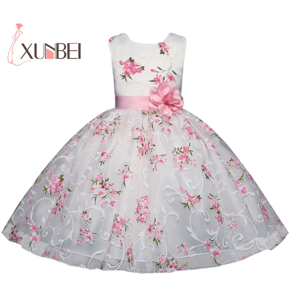 Pretty Knee length Printed   Flower     Girl     Dresses   2019 Pink Sash Communion   Dresses   Sleeveless Pageant   Dresses   For   Girls