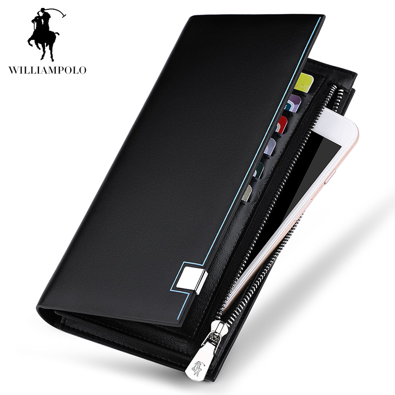 WilliamPOLO 2017 New Fashion Men Genuine Leather Wallet Brand Men Wallet Long Design Phone Holder Card