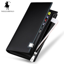 WilliamPOLO 2017 New Fashion Men Genuine Leather Wallet Brand Men Wallet Long Design Phone Holder Card Wallet Men Black POLO155