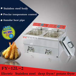 1PC Stainless steel Commercial electric deep fryer 24L large capacity Double pan 220V/3.25KW+3.25KW fritadeira
