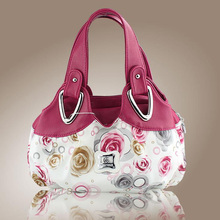 New Trend Ladies Handbag Rose Flower Fashion Printing European And American Style PU Leather Wild Handbags