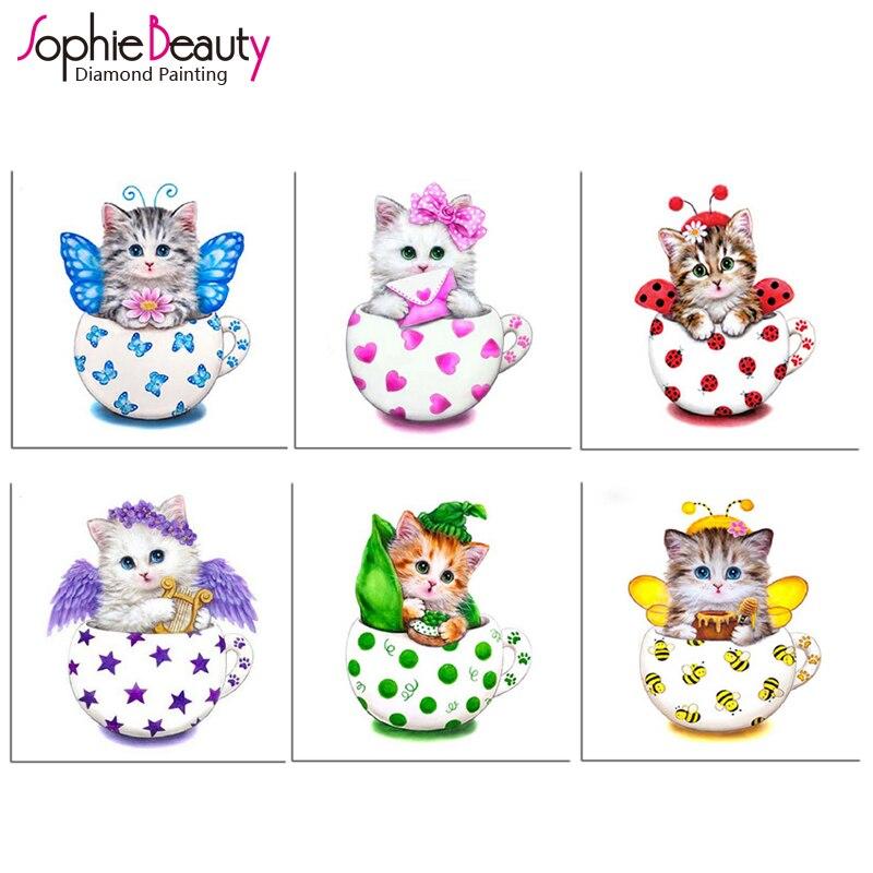 ▻3D DIY diamante bordado dibujos animados gato diamante patrón kits ...