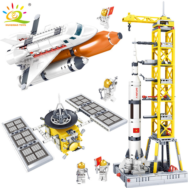 HUIQIBAO TOYS Space station Saturn V Rocket Building Blocks For Children Compatible Legoingly City astronaut Figures ship Bricks