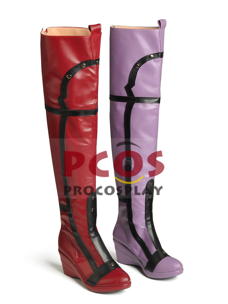 Batman Arkham City Harley Quinn Cosplay Boots / Shoes Red&Purple Version mp001673