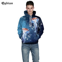 Qybian NEW popular young men hoodies sweatshirt Pretty Undersea jellyfish printed winter streetwear boys tops brief style male