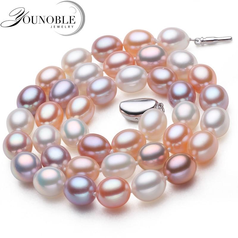 Asli mutiara air tawar kalung liontin perhiasan, nyata kalung mutiara pernikahan untuk wanita ulang tahun ibu hadiah terbaik