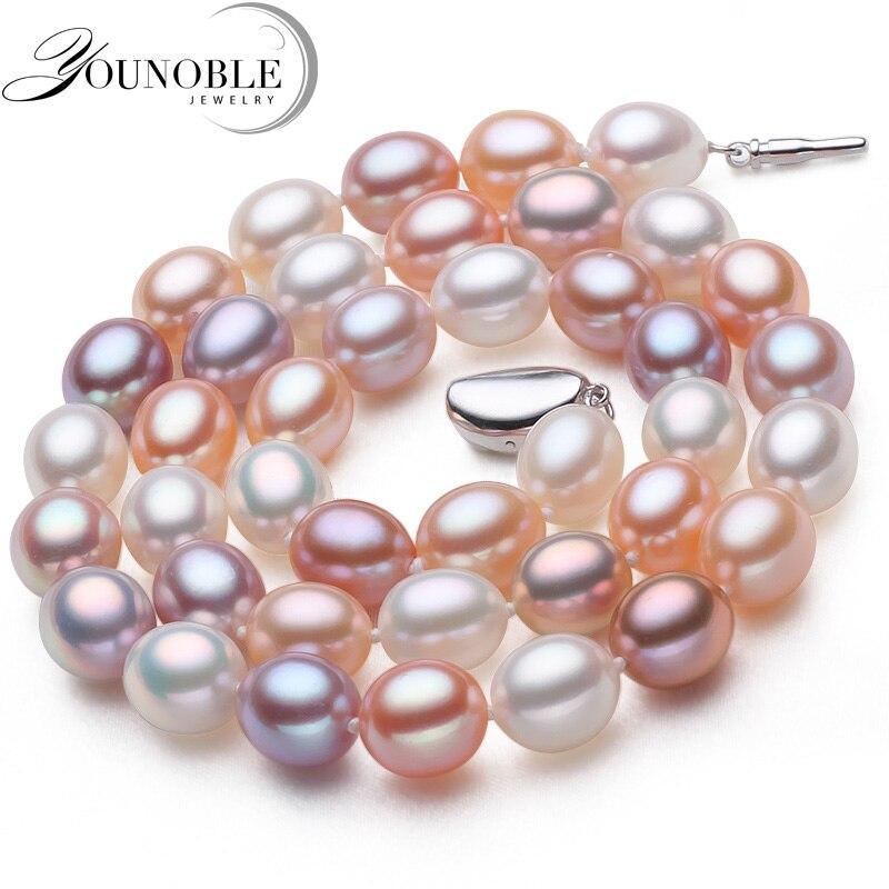 Genuine süßwasser perlenkette anhänger schmuck, echt hochzeit perle halsketten für frauen mutter geburtstag jahrestag beste geschenk