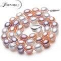 Perla de agua dulce genuina COLLAR COLGANTE de joyería, boda real collares de perlas para las mujeres madre cumpleaños aniversario mejor regalo