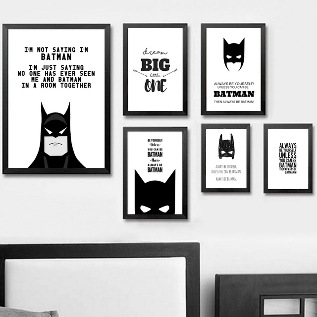 US $5 77 32% OFF Cartoon Superhero Batman Quote Poster Marvel Heros Canvas  Art Prints Black White Painting Wall Picture for Children Living Room-in