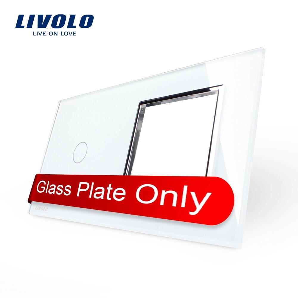 Livolo Luxury White Pearl Crystal Glass 151mm 80mm EU standard 1Gang 1 Frame Glass Panel VL