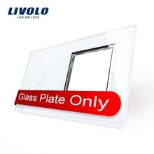 Livolo lujo White Pearl Crystal glass, 151 mm * 80 mm, estándar de la ue, 1 y 1 Gang marco de cristal del panel, VL-C7-C1 / SR-11