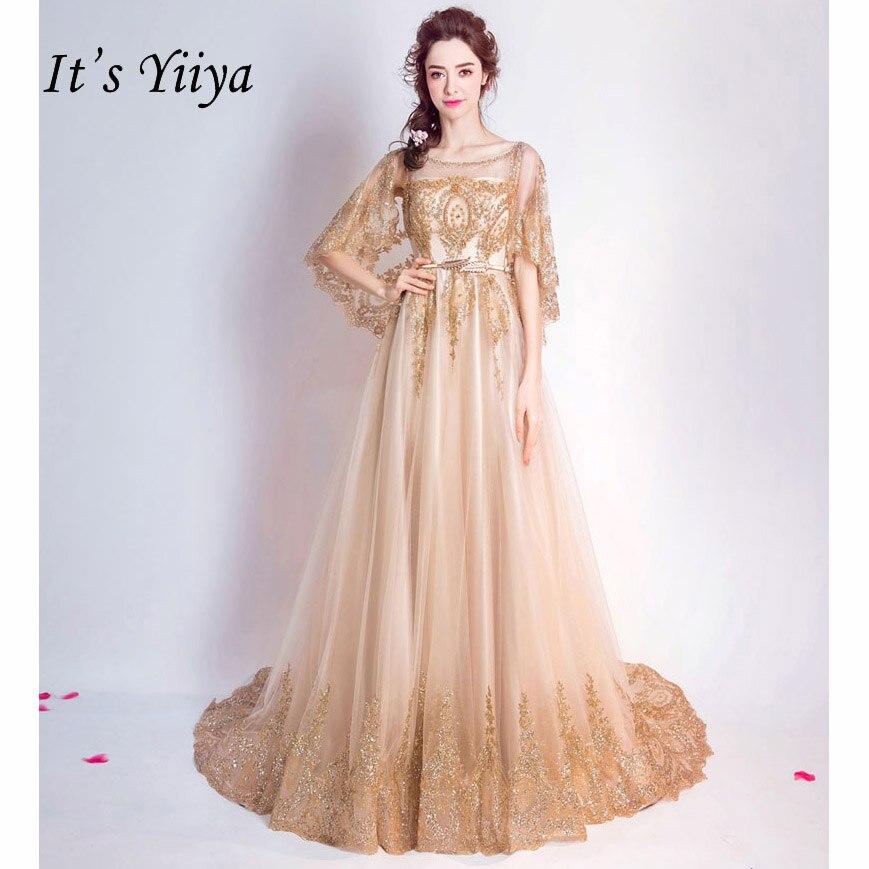 C'est YiiYa ventes Champagne demi manches robes de soirée fleur motif cristal perles de luxe Bling robe de soirée pailletée QXN074