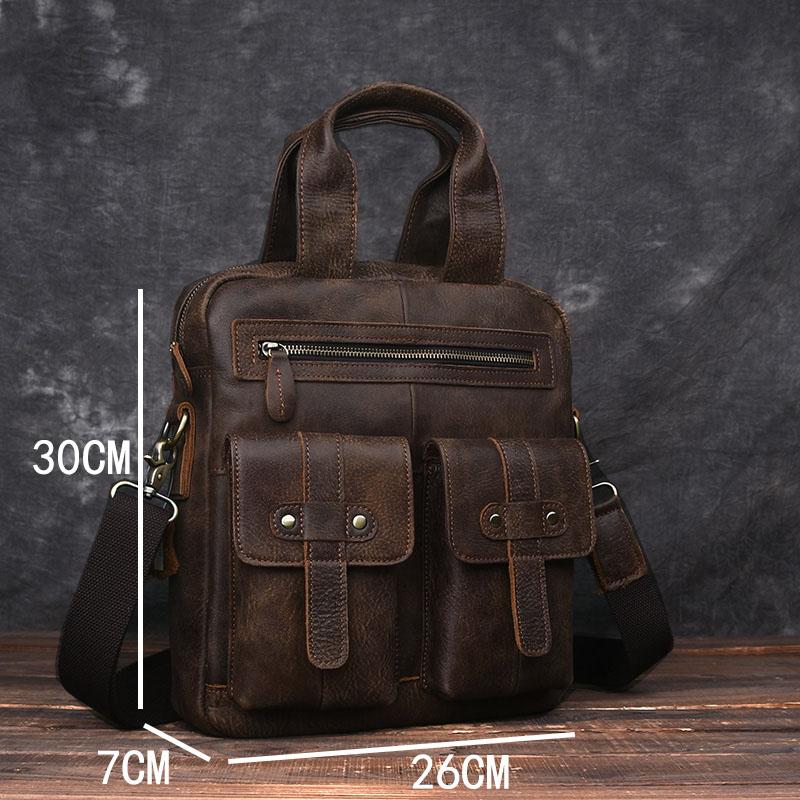 AETOO Original scrub leather men's vertical handbag shoulder Messenger bag retro handmade leather computer bag