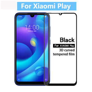 Image 1 - Protective Safety Glass For Xiaomi Mi Play Screen Protector On Xio Mi Play Tempered Glass Full Cover Glue Film Glas