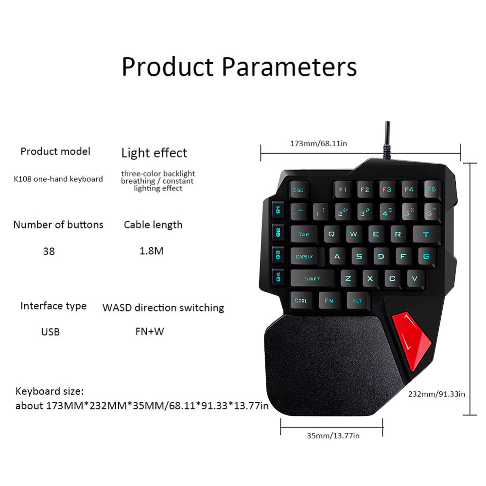 Technology Mini Gaming Keyboard One Handed Mechanical Feeling Keyboard for PUGB Mobile Game PC Laptop Computer in Keyboards from Computer Office